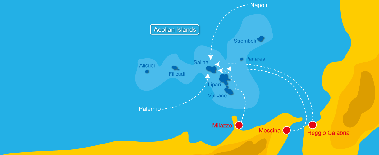 Map of how to get to Salina - Aeolian Islands